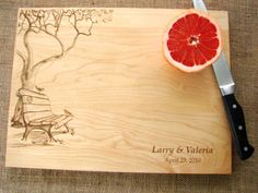 Custom Cutting Board with Tree and Birds Couples Anniversary Gift Wedding Present Bridal Shower Gift via Etsy