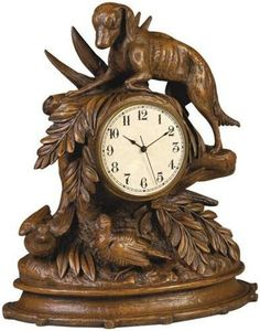 Mantle Mantel Clock Classic Birds Dog Table Top Cast Resin New Quartz Mov OK-674