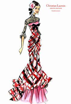 Lacroix croquis clientèle - 7 Plus Christian Lacroix, Fashion Model Sketch, Fashion Design Sketches, Illustration Mode, Fashion Illustration Sketches, Fashion Art, Fashion Models, Vintage Fashion, Fashion Tips