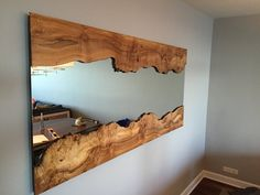 Handcrafted Live Edge Wall Mirror With Live Edge Wood Frame Indian Furniture, Diy Furniture, Acacia Wood Furniture, Live Edge Shelves, Live Edge Furniture, Wood Framed Mirror, Pallet Mirror Frame, Wooden Ceilings, Live Edge Wood