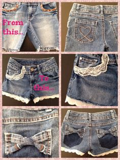 I love bows today Diy Shorts, Diy Jeans, Recycle Jeans, Denim Jeans Men, Baby Sewing, Sew Baby, Cut Off Jeans, How To Make Shorts, Cycling Outfit
