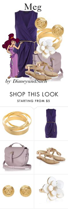 """""""Meg"""" by disneyandsuch ❤ liked on Polyvore featuring Dorothy Perkins, Meli Melo, Accessorize, Versace, disney, hercules, disneybound and WhereIsMySuperSuit"""