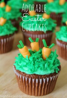 Cute Easter Cupcakes. Super easy and festive dessert idea! http://www.highheelsandgrills.com/2013/03/adorable-easter-cupcakes.html