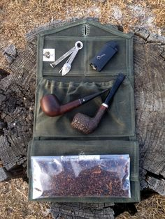 waxed canvas pipe and tobacco wallet by Lucky 1-2