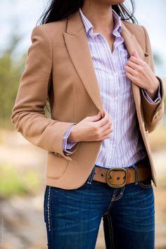 Lilac Striped Shirt Tan Blazer - Stylishlyme