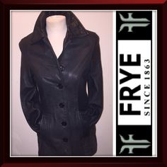 "Vintage Frye Boho Black Distressed Leather Jacket Vintage Frye Boho Black Distressed Leather Jacket! Cool & classic 100% authentic Frye jacket features: five button front, naturally distressed, soft leather, two slash pockets, button cuffs and black satin lining. Sz XS. Measures: 16"" sh to sh, 34"" chest, 32"" waist, 35"" hips, 15 1/2"" armpit to end of sleeve, 22 1/2"" sh to end & 27 1/2"" back length. Buttons need to be tightened and one pocket needs some stitching at the seam. VG condition…"
