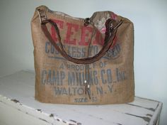 Upcycled Burlap Messenger Tote bag Handmade by Amavel on Etsy, $89.00