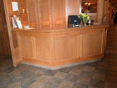 Reception area with no knee clearance and high countertop