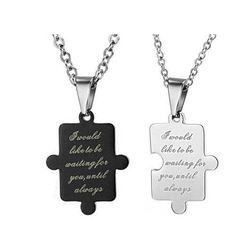 2-piece A Pair Couple Unisex Black White Pendant Necklace 304 Titanium Steel