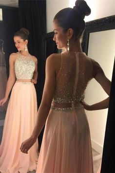 Blush Pink Chiffon Long Prom Dresses,Pretty Beading Prom Gowns For Teens,Classy Handmade Evening Dresses