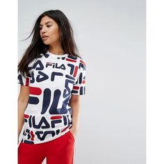 Fila Oversized Boyfriend T-Shirt With All Over Logo (690 MXN) ❤ liked on Polyvore featuring tops, t-shirts, multi, cotton t shirts, polo tees, crew neck tee, boyfriend t shirt and cotton tees