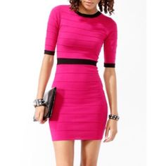 "Forever 21 Magenta Bandage Knit Dress Super cute bandage dress! Bright pink knit with black accents, it's a sexy date dress with short sleeves. Worn twice, great condition, so comfy! Size Large, but stretched to fit me - a size 14 or XL. Flat measurements: 15"" bust, 13.5"" waist, 16"" hip. Forever 21 Dresses Midi"