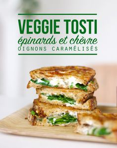 Tostis goat cheese, spinach and caramelized onions - Mango and Salt - Tosti (grilled cheese) with spinach, goat cheese and caramelized onions – Mango & Salt - Vegetarian Cooking, Vegetarian Recipes, Cooking Recipes, Healthy Recipes, Veggie Recipes, Appetizer Recipes, Dinner Recipes, Veggie Food, Drink Recipes