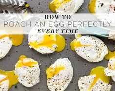 How to poach an egg perfectly:   Use fresh, cold eggs; bring a pot of pan to a boil , add a spoon of vinegar , stir and then reduce boiling water to a simmer, slide the egg carefully into the center of the pot; let it cook for three to five minutes; and remove it carefully with a slotted spoon. It'll work like magic every time.