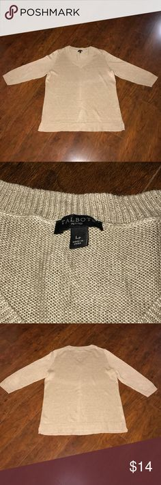 TALBOTS PETITES BEIGE V-NEXK LINEN SWEATER SZ LP SZ- LP    3 QUARTER SLEEVES  LENGTH- 24 1/2 WIDTH- 20 FABRIC- 100% LINEN NO TEARS OR STAINS, ONE SMALL SNAG ON BACK OF RT ARM This item is Pre-Owned with love. It is in excellent condition. Everything sold in our closet is washed and ready for wear as soon as it's delivered to you. Thank you for stopping by Please be sure to check us out daily for new inventory.   Thank you for stopping by, Please be sure to check us out daily for Sweaters…