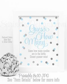 Baby Shower Games - Guess How Many, Candy Guessing Game, Candies in Bottle - Baby Blue Silver Glitter Printable Baby Boy Shower Game Ideas