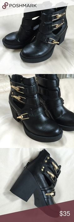 "Black Gold Buckle Boot Size 7 leather boots with gold hardware. Gently worn and still in new condition. Approx. 3"" heel on the back. Zipper on the back as well. Zigi Soho Shoes Ankle Boots & Booties"