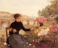 A Parisian Flower Market - Victor-Gabriel Gilbert