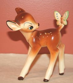Vintage Disney Japan Bambi Figurine with Butterfly on Tail | eBay