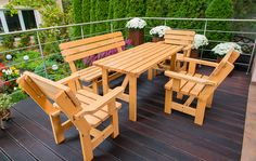 Zestaw mebli ogrodowych Aga cena: 750 zł Outdoor Chairs, Outdoor Furniture, Outdoor Decor, Aga, Picnic Table, Wood, Home Decor, Decoration Home, Woodwind Instrument