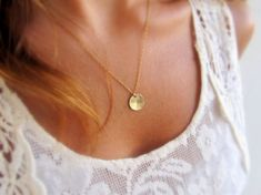 Gold disc necklace Gold coin necklace Tiny disc necklace by LirLir