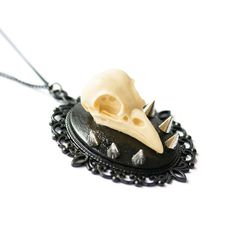 CRMC X Magpie Til I Die resin crow skull on a spiked black cameo and black chain - available at www.crmc-clothing.co.uk | WE SHIP WORLDWIDE #jewellery #jewelry #handmade #diy #jewellerydesign #fashion #alternative #jewelleryaddict #jewelleryoftheday #jewellerygram #instajewellery #jewelleryofig #cute #love #crow #crowskull #skull #taxidermy #spikes #spikedskull #goth #pastelgoth #gothgirl #metal #blackmetal #alternativegirl #alternativeteen #goth #love #want #need