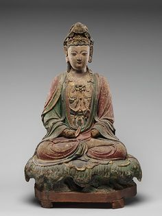 Figure seated on lotiform basePeriod: early Ming dynasty (1368–1644) Culture: China Medium: Stucco Dimensions: a. H. 22 3/4 in. (57.8 cm); W. 15 3/4 in. (40 cm); D. 10 1/2 in. (26.7 cm) b. H. 8 1/4 in. (21 cm); W. 19 in. (48.3 cm); D. 12 3/4 in. (32.4 cm) Classification: Sculpture Credit Line: Gift of A. W. Bahr, 1958 Accession Number: 58.64.32a, b Met