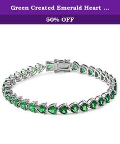 "Green Created Emerald Heart Cz Gemstone Bracelet Solid .925 Sterling Silver. Product code: SBC-1010-EM Length:7.25"" Width:5mm."