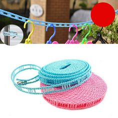 1 Pcs Outdoor Travel Portable 5m Windproof Clothesline Clothes Cord Laundry Rope…