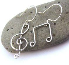 Clé de sol musique Note bijoux boucles d'oreilles fil
