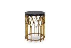 MECCA | Modern Side Table by @BRABBU, brushed aged brass, marble