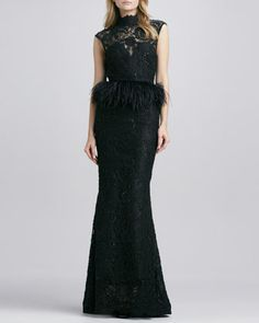 Jessica Beaded Feather-Peplum Gown by Alice + Olivia at Bergdorf Goodman.