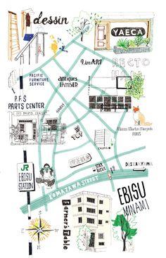 Ebisu Map for POPEYE Magazine Tulsa Map, Map Design, Graphic Design, Popeye Magazine, Mental Map, Magazine Layout Design, Illustration Art, Illustrations, Beer Label