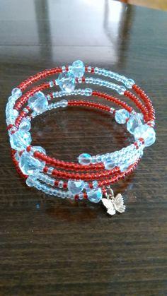 Náramok TOHO white AB,red, crystal AB,memory wire bracelet