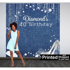 Denim & Diamonds Party Photo Backdrop - Vinyl Backdrops are great for a photo booth or a stage background.