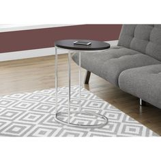Monarch Cappuccino and Chrome Metal and Veneer Accent Snack Table (Accent Table - Oval / Cappuccino With Chrome), Brown