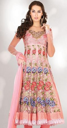 $139.73 Pink A Line Stone and Thread Work Anarkali Salwar Kameez 22232
