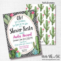593a7132d1a0 Cactus Fiesta Baby Shower Invitation