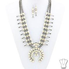 New Squash Blossom Cream Navajo Gray Color Necklace + Earrings Southwestern #SP #SquashBlossom