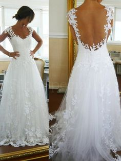 Fascinating Ball Gown Straps Sweep Train Lace Wedding Dress #Wedding #Dress