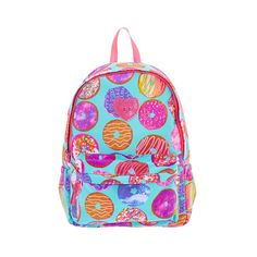 Turquoise Glittery Donut Backpack ($32) ❤ liked on Polyvore featuring bags, backpacks, rucksack bags, zipper bag, zip handle bags, turquoise bag and turquoise backpack