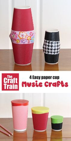 Paper cup music crafts for kids. Make a paper cup shaker, guitar, drum and chicken noise maker – full tutorial over on the blog! This is a great STEM project for kids which you could also turn into a STEM challenge by giving kids the materials and seeing what they can create on their own #STEMcraft #STEAM #papercup #papercupcrafts #musiccrafts #Kidscrafts #kidsactivities #diytoys #playmatters #craftsforkids #funkidscrafts