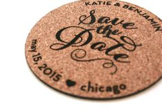 Cork Magnet and Coaster Save the Date: Perfect for a vineyard wedding. By Sofia Invitations and Prints. www.sofiainvitations.etsy.com