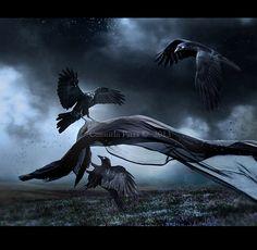 paintings of ravens | Flight of Ravens by =Aeternum-Art on deviantART