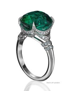 Classic elegance par excellence - a very special 8.04ct Brazilian tourmaline in the most desirable blue-green shade has been given full focus in a mount designed to exhibit its full glory from various angles. This eminently precious one of a kind ring is set in platinum and generously adorned with 0.52ct diamonds. #hennoflondon