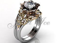 14k three tone white yellow and rose gold diamond by Jewelice