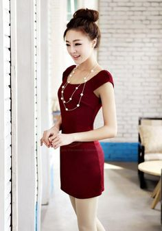 Elegant Scoop Neck Simple Design Cap Sleeve Dress For Women (RED,XL) China Wholesale - Sammydress.com