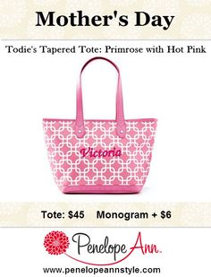 The tapered totes come in lots of fun colors and can be personalized just for your mom (or yourself)! Make this year's gift special