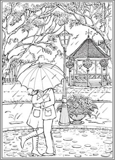 From: Creative Haven Romantic Country Scenes Livro de colorir Dover Coloring Pages, Adult Coloring Book Pages, Cute Coloring Pages, Printable Coloring Pages, Coloring Sheets, Coloring Books, Free Adult Coloring, Buch Design, Dover Publications