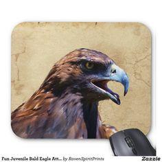 Fun Juvenile Bald Eagle Attitude Wildlife Art Mouse Pad
